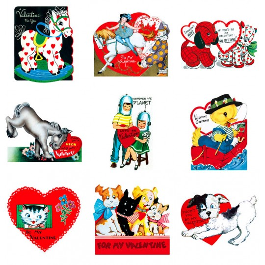 "Pack of 15 Retro Valentines ""Cool for School"" featuring Animals and Children ~ USA"