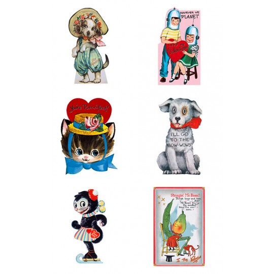 "Pack of 15 Retro Valentines ""Funny Valentines"" featuring Animals and Children ~ USA"