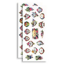 2 Sheets Vintage Floral Calling Card Ephemera Stickers