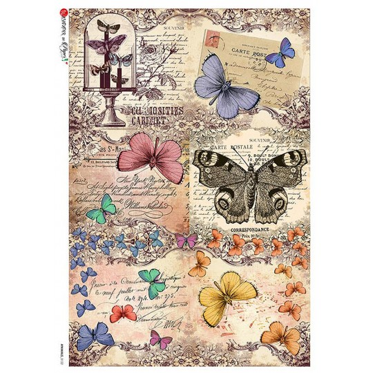 Butterflies Collage Rice Paper Decoupage Sheet ~ Italy