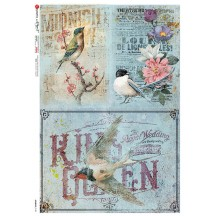 Blue Birds and Flowers Collage Rice Paper Decoupage Sheet ~ Italy