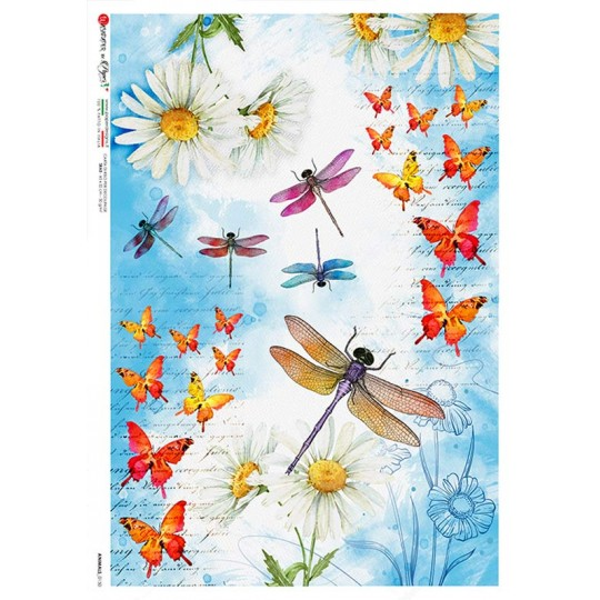 Dragonflies and Flowers Rice Paper Decoupage Sheet ~ Italy
