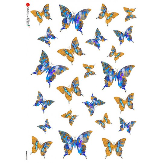 Blue and Gold Mixed Butterflies Rice Paper Decoupage Sheet ~ Italy