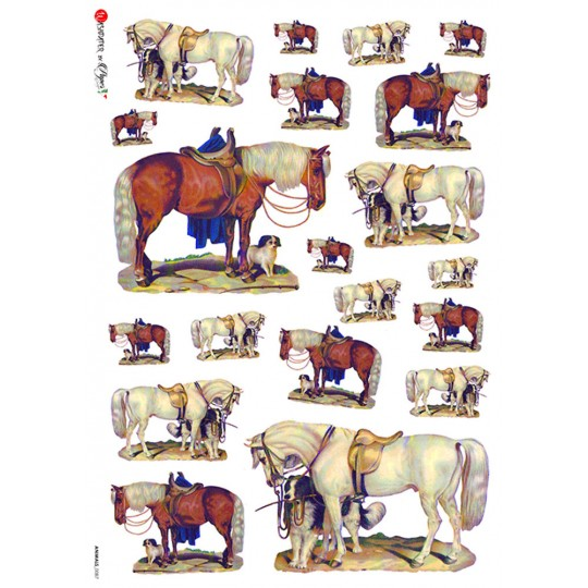 Mixed Horses Rice Paper Decoupage Sheet ~ Italy