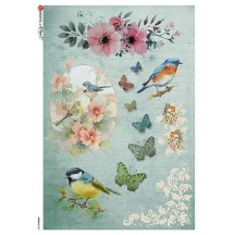 Blue Birds and Butterflies Rice Paper Decoupage Sheet ~ Italy