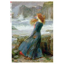 Maiden at Seashore Rice Paper Decoupage Sheet ~ Italy