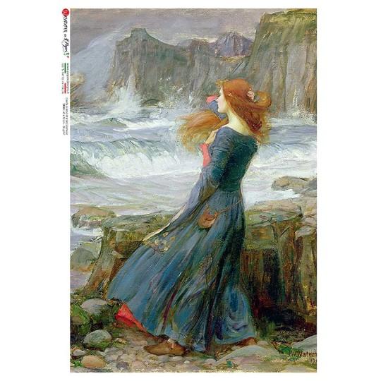 Maiden at Seashore Rice Paper Decoupage Sheet ~ Italy