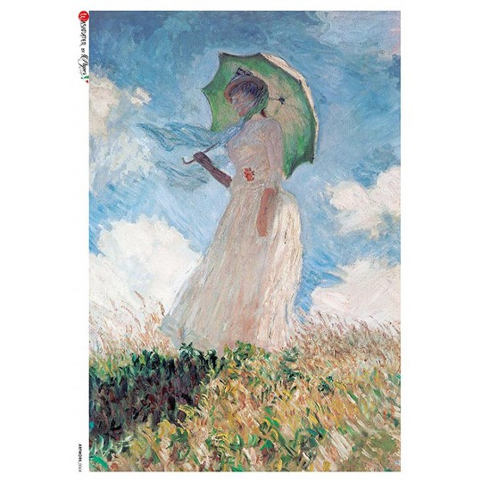 Monet Woman with a Parasol Rice Paper Decoupage Sheet ~ Italy