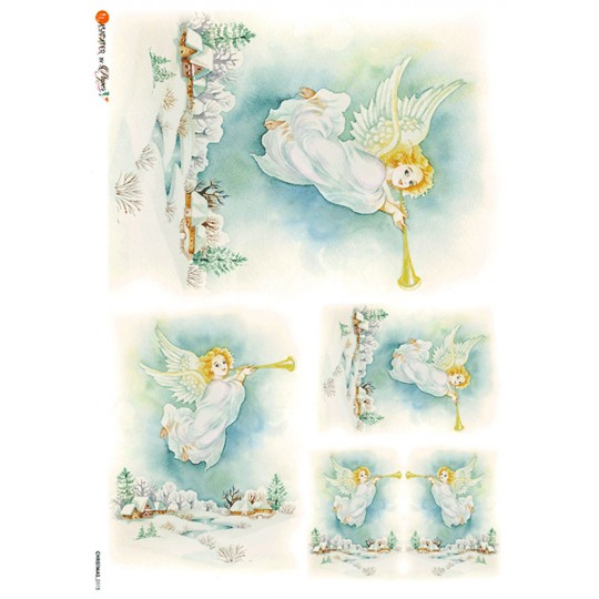 Pastel Christmas Angels with Trumpets Rice Paper Decoupage Sheet ~ Italy