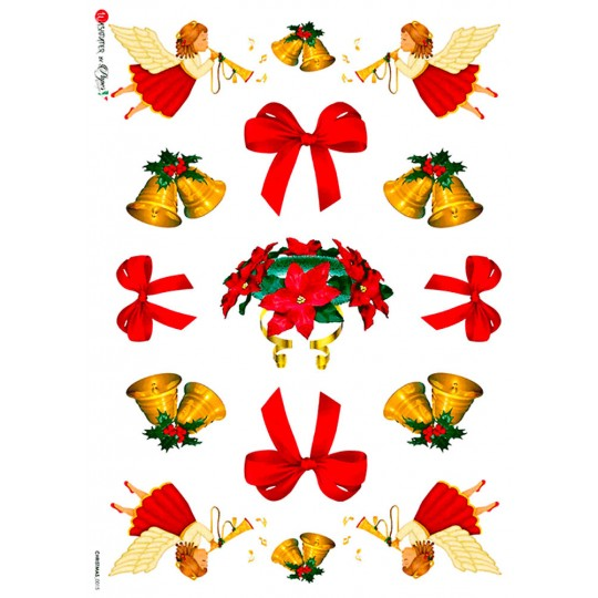 Christmas Bells, Bows and Angels Rice Paper Decoupage Sheet ~ Italy
