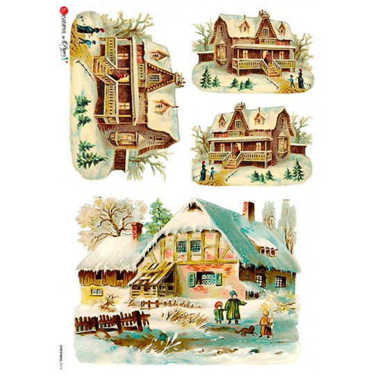 Snowy Houses Rice Paper Decoupage Sheet ~ Italy