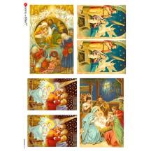 Beautiful Nativity Scenes Rice Paper Decoupage Sheet ~ Italy