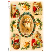 Santa Christmas Scenes Rice Paper Decoupage Sheet ~ Italy