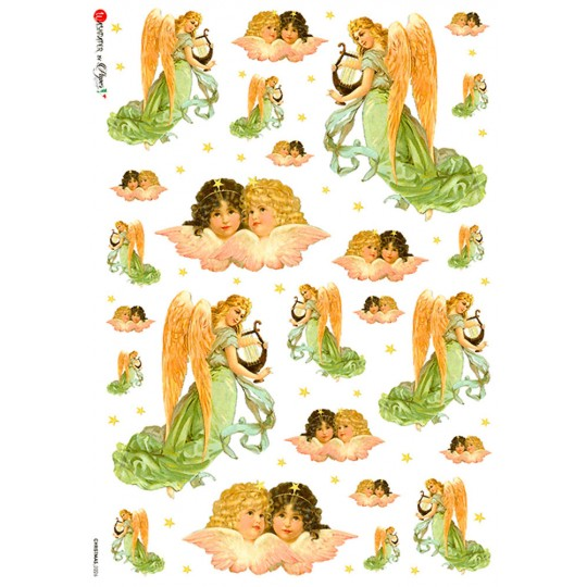 Classic Pastel Angels Rice Paper Decoupage Sheet ~ Italy