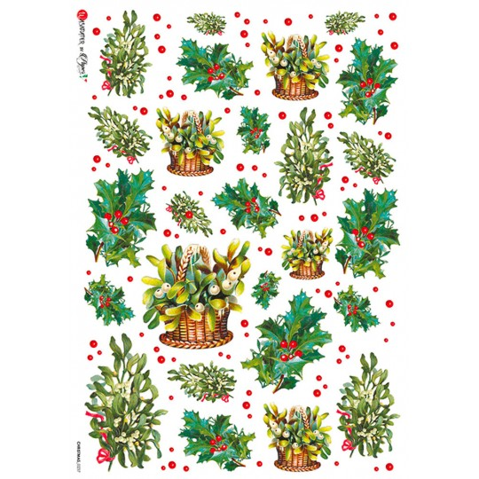 Christmas Holly and Greenery Rice Paper Decoupage Sheet ~ Italy