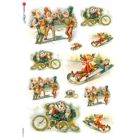 Festive Gnomes Rice Paper Decoupage Sheet ~ Italy