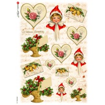 Christmas Babes and Hearts Rice Paper Decoupage Sheet ~ Italy