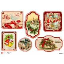 Red Christmas Scenes Rice Paper Decoupage Sheet ~ Italy