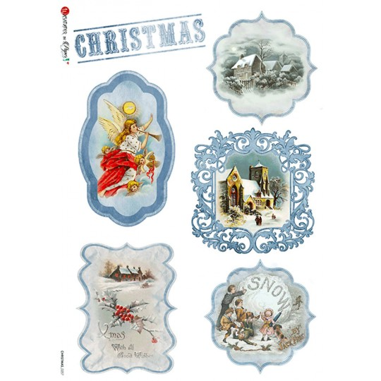 Blue Christmas Scenes Rice Paper Decoupage Sheet ~ Italy