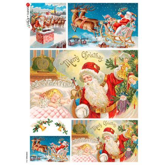 Santa on Christmas Eve Rice Paper Decoupage Sheet ~ Italy