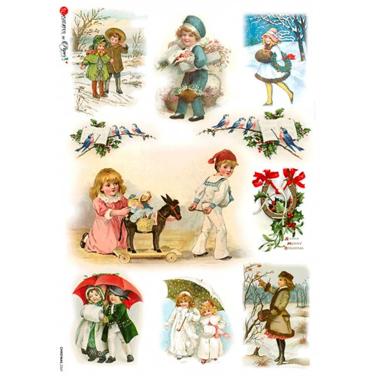 Vintage Winter and Christmas Children Rice Paper Decoupage Sheet ~ Italy