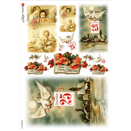 Mixed Vintage Christmas Scenes Rice Paper Decoupage Sheet ~ Italy