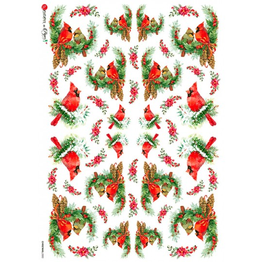 Christmas Cardinals and Greenery Rice Paper Decoupage Sheet ~ Italy