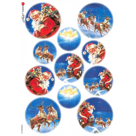 Christmas Night Santa and Sleigh Rice Paper Decoupage Sheet ~ Italy