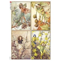 Fairies of Winter Fairy Flower Fairies Rice Paper Decoupage Sheet ~ Italy