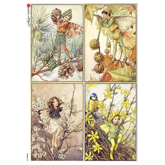 Fairies of Winter Fairy Flower Fairies Rice Paper Decoupage Sheet ~ Italy