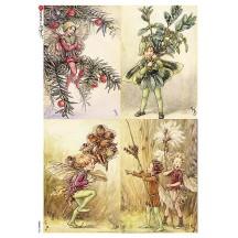 Fairies of Winter II Fairy Flower Fairies Rice Paper Decoupage Sheet ~ Italy