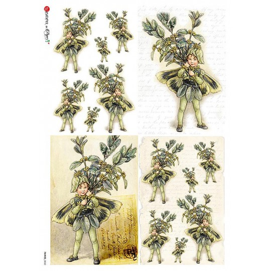 The Box Tree Fairy Flower Fairies Rice Paper Decoupage Sheet ~ Italy