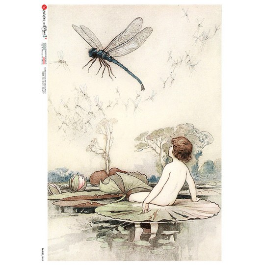 Fairy with Dragonfly Rice Paper Decoupage Sheet ~ Italy