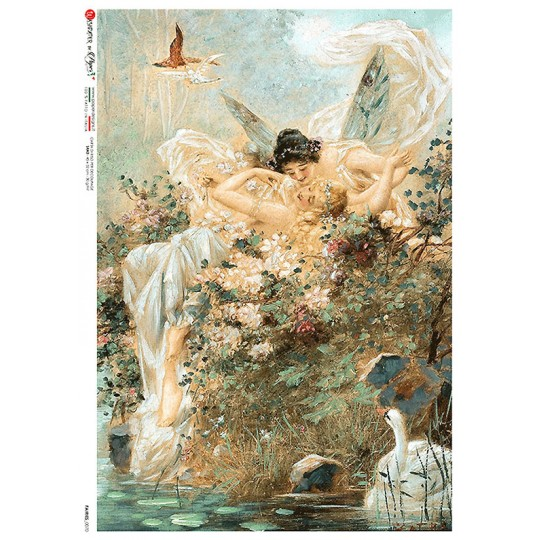 Fairies and Swan Rice Paper Decoupage Sheet ~ Italy