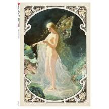 Art Nouveau Butterfly Fairy Rice Paper Decoupage Sheet ~ Italy
