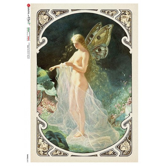 Art Nouveau Butterfly Fairy Rice Paper Decoupage Sheet ~ Italy
