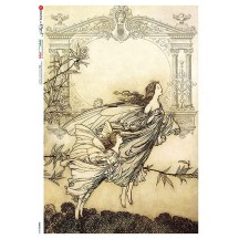 Art Nouveau Butterfly Fairies Rice Paper Decoupage Sheet ~ Italy