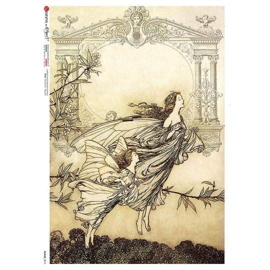 Art Nouveau Butterfly Fairies Rice Paper Decoupage Sheet ~ Italy