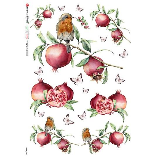 Mixed Pomegranates Rice Paper Decoupage Sheet ~ Italy