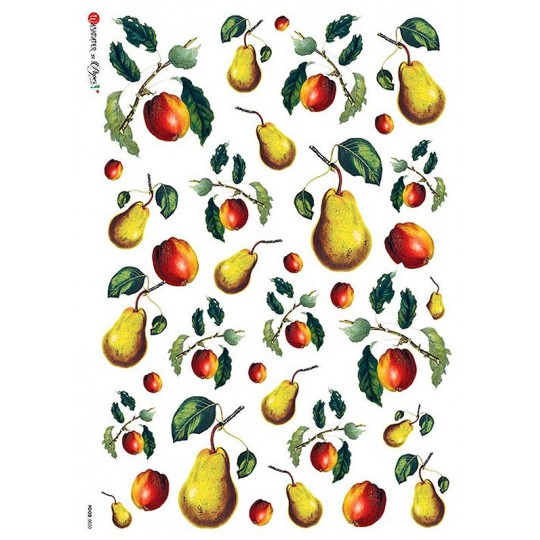 Mixed Pears Rice Paper Decoupage Sheet ~ Italy