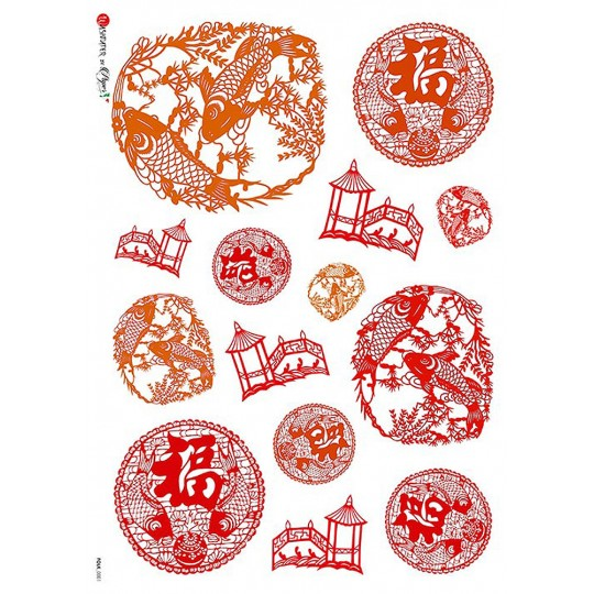 Japonisme Red Koi and Garden Elements Rice Paper Decoupage Sheet ~ Italy