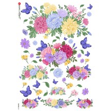 Chrysanthemums and Butterflies Rice Paper Decoupage Sheet ~ Italy