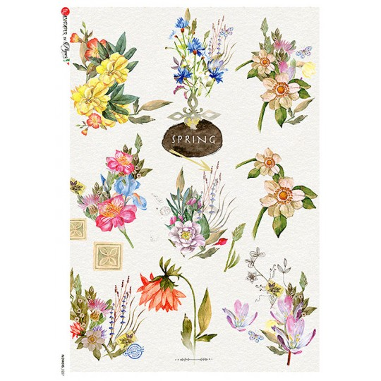 Spring Flowers Rice Paper Decoupage Sheet ~ Italy