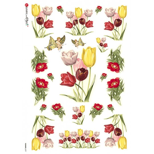 Mixed Tulips Floral Rice Paper Decoupage Sheet ~ Italy