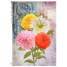 Large Chrysanthemum Collage Rice Paper Decoupage Sheet ~ Italy