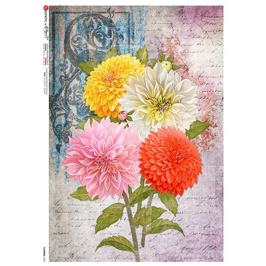 Large Chrysanthemum Collage Rice Paper Decoupage Sheet ~ Italy