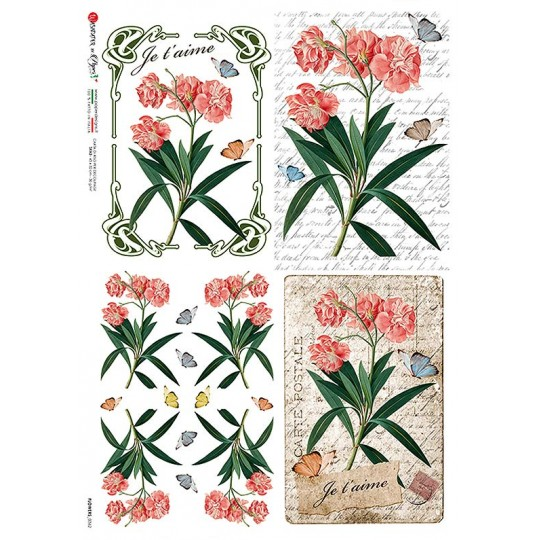 Coral Flowers Springtime Rice Paper Decoupage Sheet ~ Italy