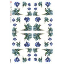Blue Primrose Flowers Rice Paper Decoupage Sheet ~ Italy