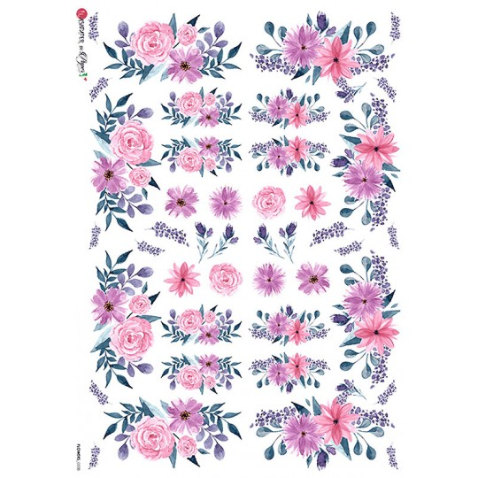 PInk and Purple Flowers Rice Paper Decoupage Sheet ~ Italy