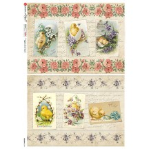 Old Fashioned Easter Chicks Collage Rice Paper Decoupage Sheet ~ Italy